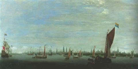 a boyer a warship and other shipping on the river ij off amsterdam by hendrick van anthonissen