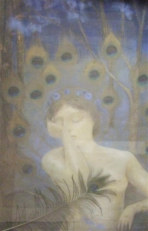 nu dans un décor de plumes de paons composition symboliste by casimir stabrovsky