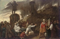 the rival sacrifices of eilijah and the priests of baal by rombout van troyen