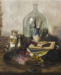 still life with artist's palette by henk bos