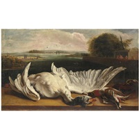 a dead swan and a mallard on a ledge before an extensive river landscape by jan weenix