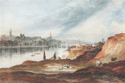 view of newcastle upon tyne from the banks of the tyne by thomas h hair