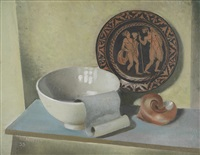 still life with shell (w/oil sketch, verso) by patrick hennessy