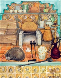 nature morte au chat gris by jellal ben abdallah
