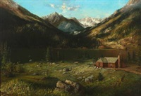 mountainscape with a house by a lake by karl heffner