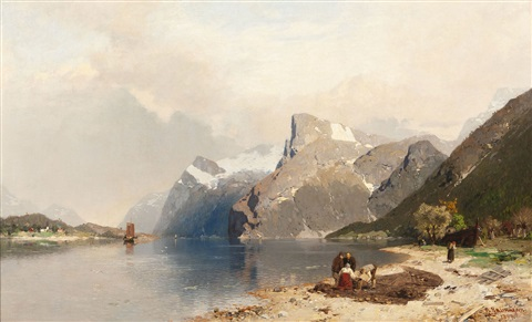 fischer in fjordlandschaft by georg anton rasmussen