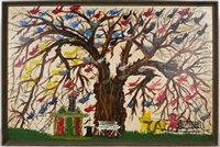multi-colored birds in willow tree by john roeder