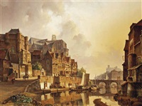 a capriccio view of a dutch town by kasparus karsen