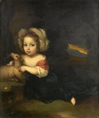 portrait of a young child as a shepherd by aleijda wolfsen