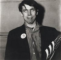 patriotic young man with a flag, n.y.c. by neil selkirk and diane arbus