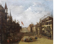 the campo di san basso, venice by francesco guardi