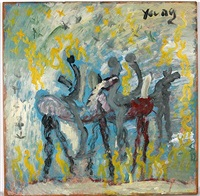 horse and riders with blue sky by purvis young