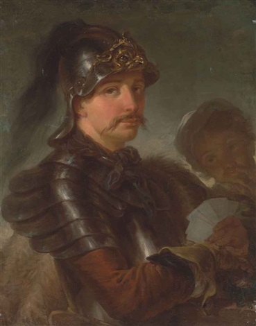 portrait of a man half length in armour wearing a helmet and a fur cape holding a set of playing cards in his left hand by stefano torelli