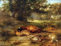 wooded landscape with dead game by james stark