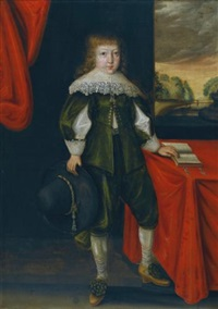 portrait of a young boy wearing a white lace collar and holding a black hat by anglo-dutch school (18)