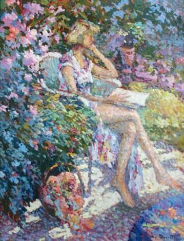 jeune femme lisant dans le jardin by eugène bégarat