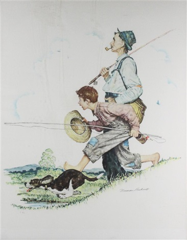 grandpa and me fishing by norman rockwell