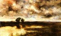 paysage à l'étang au coucher du soleil by adolf giorgini toscano