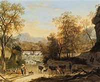 a river landscape with peasants watering a herd of cows in the shallows and other figures resting under a tree by louis gadbois