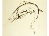 study of a bestiary-type fish by pietro annigoni