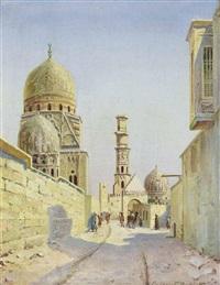 belebte straße in kairo mit ibn-tulun-moschee by gustav rockholtz