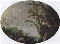 a wooded landscape with a shepherd tending his herd at the edge of a wood by jacob van geel