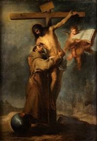 der heilige franziskus empfängt den leichnam christi am kreuz by bartolomé esteban murillo