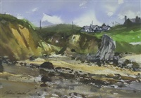 anglesey cove with seaside dwellings by matthew snowden