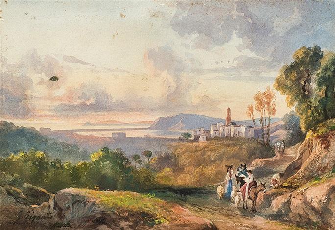 paesaggio costiero con figure e un borgo sullo sfondo by giacinto gigante
