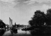 boating parties near a river town by george hilditch