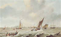 shipping off helvoetsluys, holland by samuel hutchinson