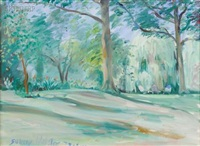 the quiet yard, a view of the artist's yard, huntington, long island by stokley webster