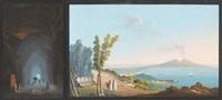l'intérieur de la grotte de perrugi et vue de la baie de naples (2 works) by la pira