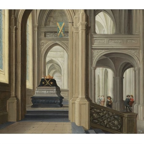 a church interior with a royal tomb probably that of the german emperor rudolf ii by dirck van delen