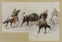 three cowboys on horseback surrounding a bull by daniel smith