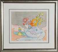 lady and sailboat v by peter max