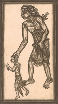 man with boy, possibly a mythological scene by ida bagus ketut togog