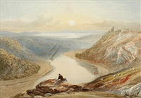 the avon gorge from clifton down showing cook's folly and looking towards the severn estuary by samuel jackson