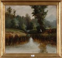 pêcheurs au bord du ruisseau by paul j. lauters