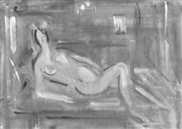 interieur mit liegendem weiblichen akt by alexandre rochat