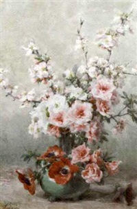 apple blossom, anemones and roses by auguste rivoire
