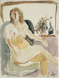 sitzender weiblicher akt mit zwei blumenvasen by horst leifer