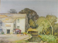 water mill with mill stream, horse drawn wagon waiting with poultry in the yard by walter eastwood