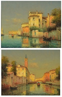 the calm of venice and the venetian scene (pair) by noel georges bouvard