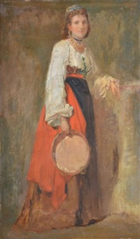 italienne au tambourin, rome by henri regnault