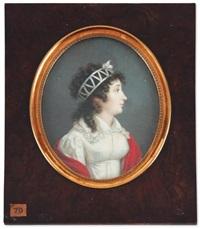 portrait de jeune femme vers la droite en robe de soie blanche, cape rouge sur les épaules, les cheveux bouclés attachés de rubans by louis marie autissier
