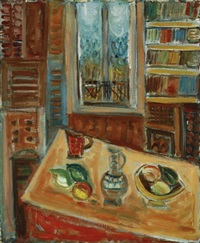 interior with vase of flowers on table by pinchas abramovich