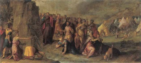 mosè fa scaturire le acque dalla roccia by frans francken the younger