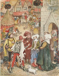 a christmas market in merrie england: preparing for the feast by ernest h. shepard