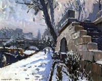 la neige au pont neuf by maurice fongueuse